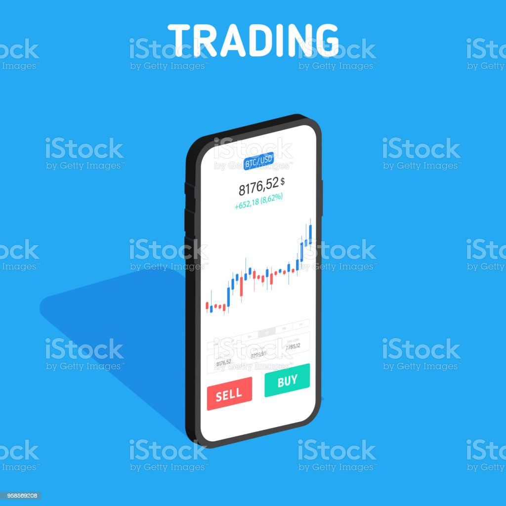 Bitcoin Exchange. Cryptocurrency Technology. Smartphone Clean Mobile UI Design Concept. Trendy Mobile Banking in isometric Financial analytics. Trading Business Application Template. Vector illustration. vector art illustration