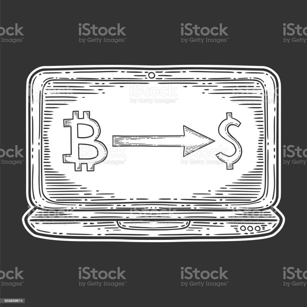 Bitcoin Tauschen Lager Vektorbild Digitale Währung Kryptowährung ...