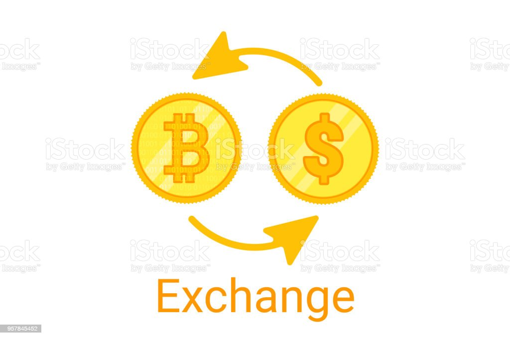 bitcoin exchange symbol on white background. Gold coing. Concept for internet banking. Vector vector art illustration