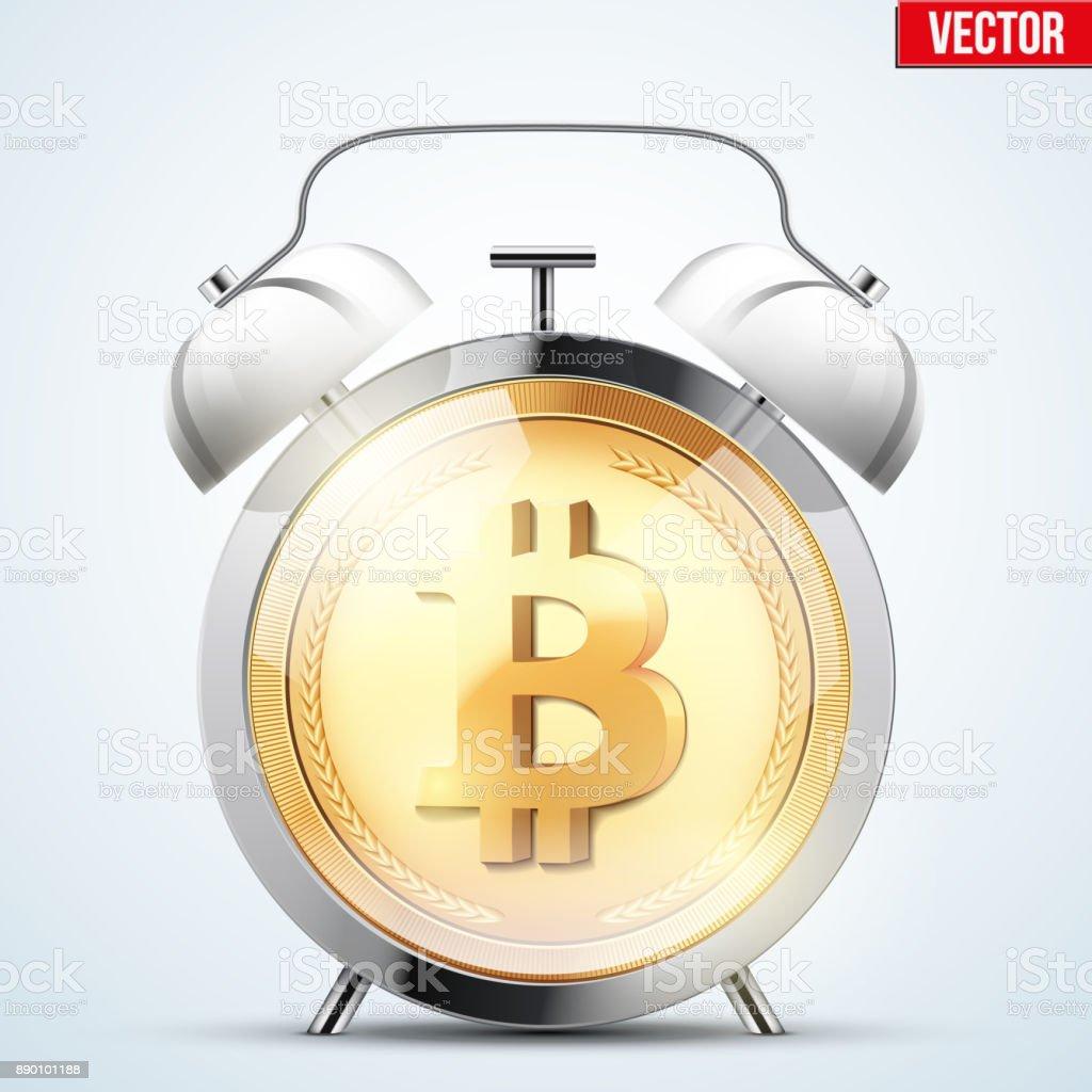 Bitcoin exchange trading alarm clock vector art illustration