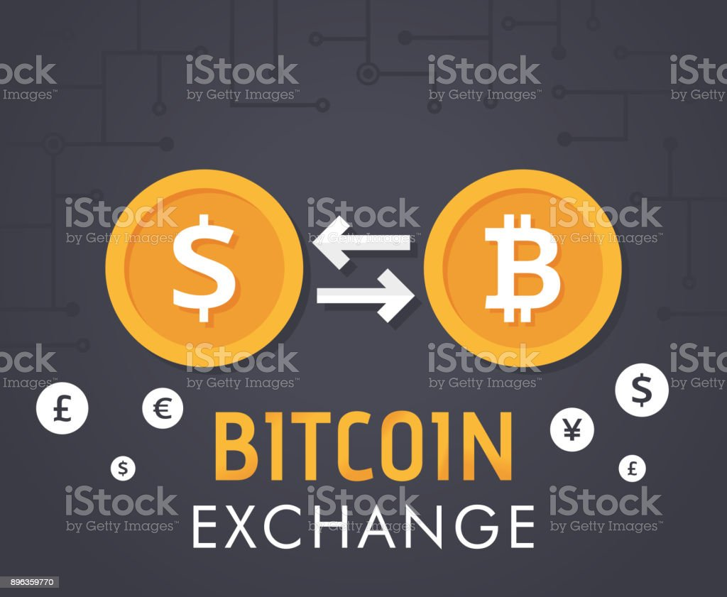 Bitcoin Exchange With Bitcoin Coin Symbol And Sign Of Other