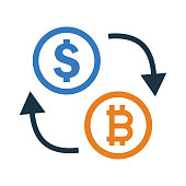 istock Bitcoin exchange with dollar icon design 1225442863