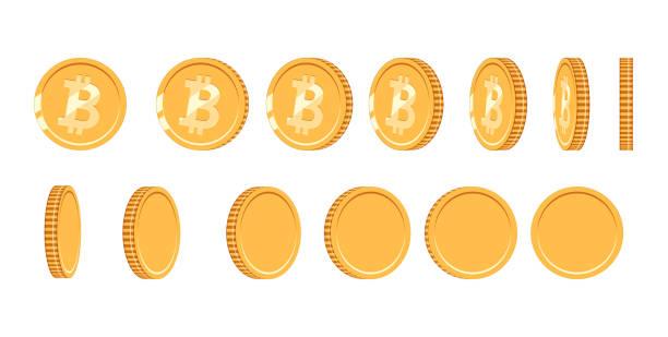 stockillustraties, clipart, cartoons en iconen met bitcoin gouden munt onder verschillende hoeken voor animatie. vector bitcoin instellen. financiën geld valuta bitcoin illustratie. digitale valuta. vector-pictogram - bitcoin