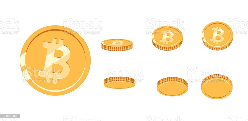 Bitcoin gold coin at different angles for animation. Vector Bitcoin set. Finance money currency bitcoin illustration. Digital currency. Vector icon vector art illustration
