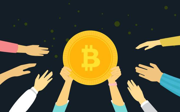 stockillustraties, clipart, cartoons en iconen met bitcoin gouden symbool concept vectorillustratie van mensen financiering - bitcoin