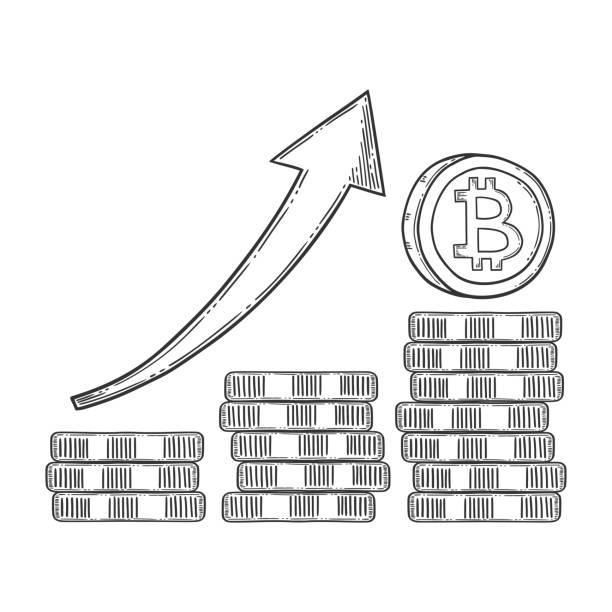 Bitcoin groei en verhoging van de voorraad vector afbeelding, cryptocurrency geld, digitale valuta bitcoin symbool. Doodle en gegraveerde stijl illustratie, hand getrokken. Geïsoleerd op witte achtergrondvectorkunst illustratie
