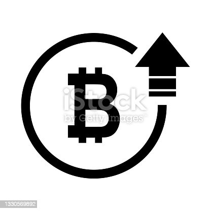 istock Bitcoin high symbol, cost increase icon. Growth profit bussiness sign vector illustration 1330569892