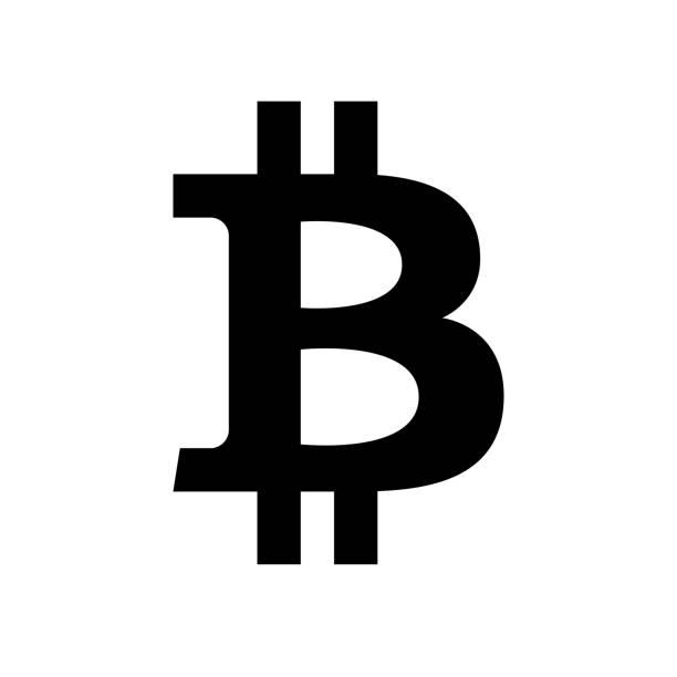stockillustraties, clipart, cartoons en iconen met bitcoin pictogram. zwart, minimalistische pictogram geïsoleerd op een witte achtergrond. crypto valuta eenvoudig silhouet. - bitcoin