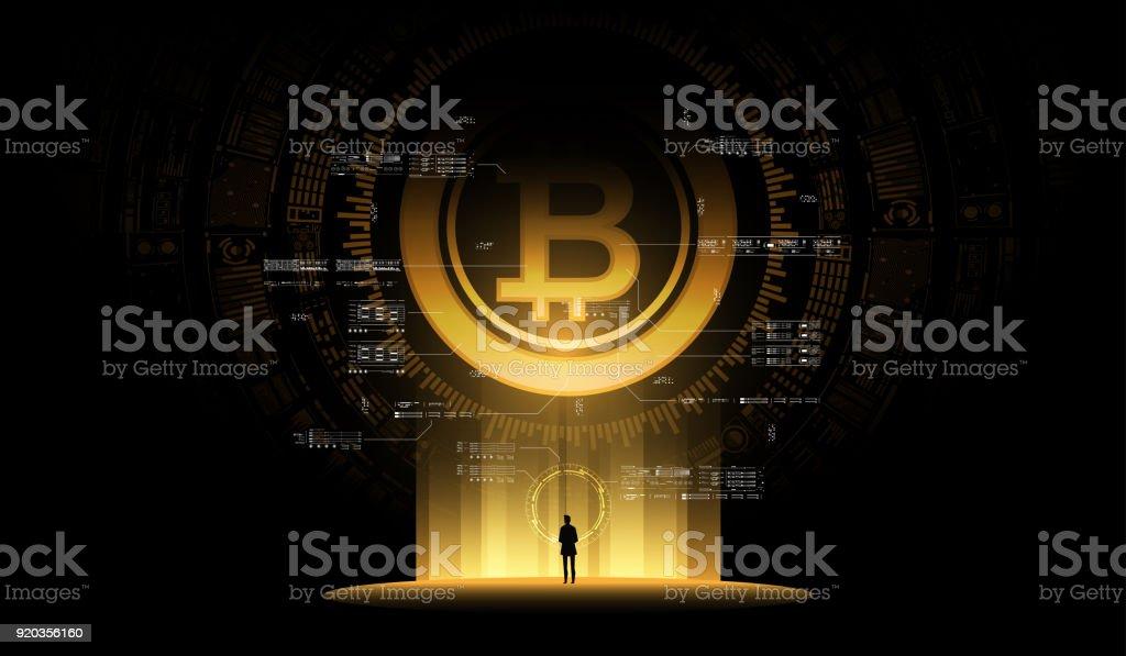 Bitcoin illustration concept. Futuristic digital money, technology worldwide network concept. Small man looks at a huge futuristic hologram vector art illustration