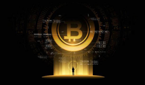 stockillustraties, clipart, cartoons en iconen met bitcoin illustratie concept. futuristische digitale geld, technologie wereldwijd netwerk concept. kleine man kijkt naar een enorme futuristische hologram - bitcoin