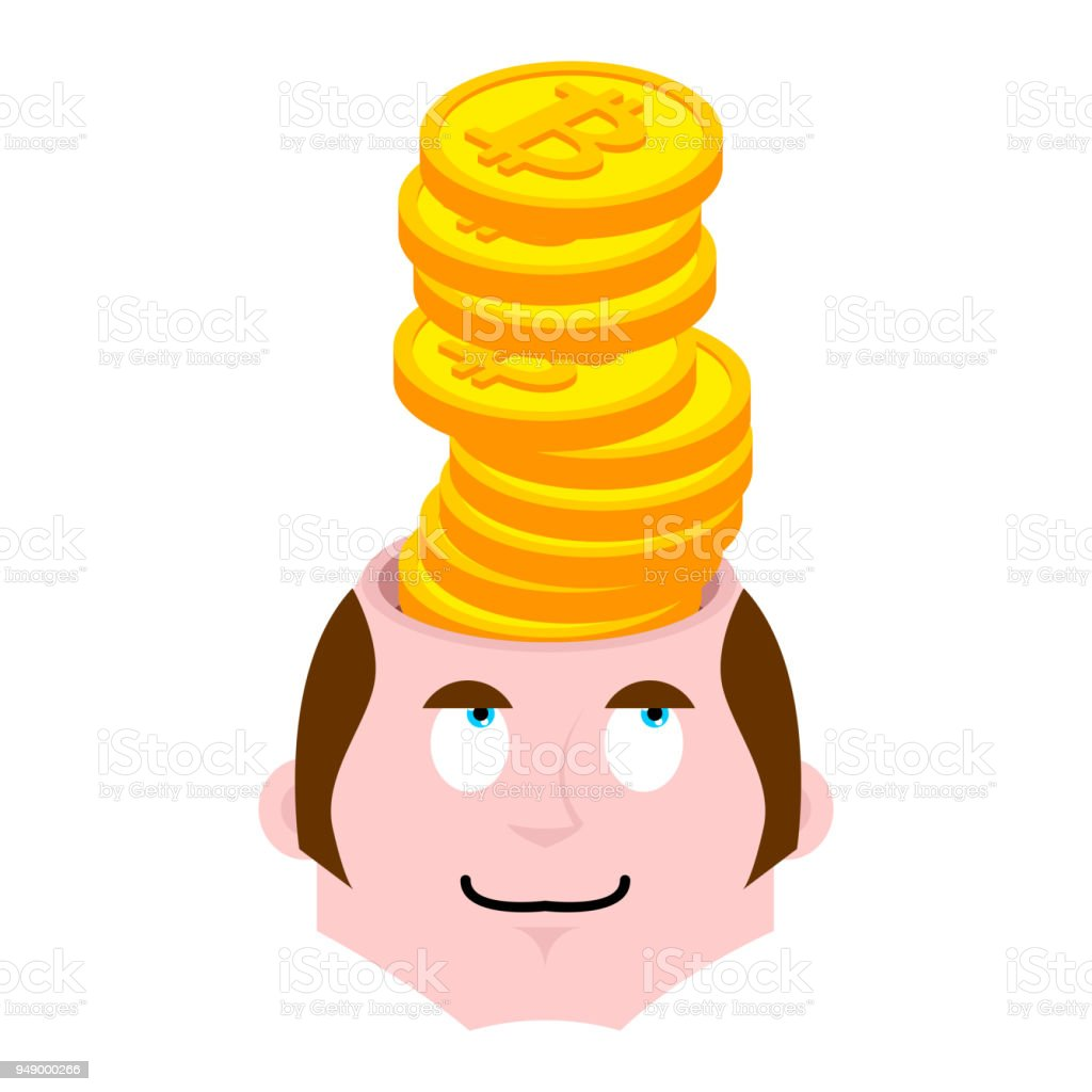 Bitcoin in head. Crypto currency fever. Open head