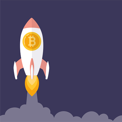 Bitcoin is growing, concept with a rocket. Blockchain technologies, bitcoins, altcoins, finance, digital money market, cryptocurrency wallet. Vector banner in flat style