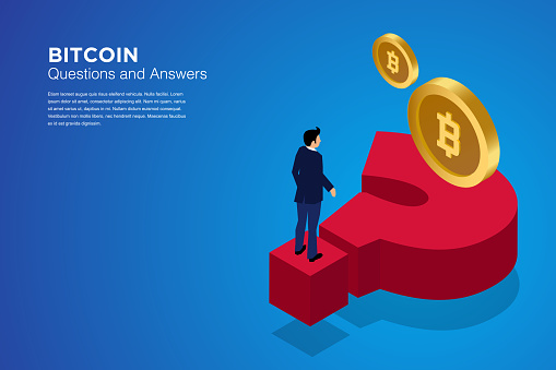 Bitcoin isometric composition with people, analysts and managers working on crypto start up. Landing page template. Vector isometric illustration. stock illustration