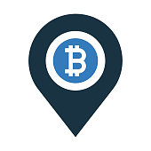 istock Bitcoin, location map icon design 1263824750