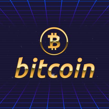 Bitcoin logo. Bitcoin retro futuristic emblem design. Golden bitcoin logo template. 1980s trendy hipster design. Vector illustration
