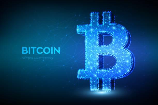 stockillustraties, clipart, cartoons en iconen met bitcoin. laag poly abstracte mesh lijn en punt bitcoin teken. crypto valuta, virtuele elektronische, internet geld. betalings symbool. cryptogeld e-commerce concept. 3d veelhoekige vector illustratie. - bitcoin
