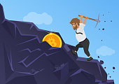 Bitcoin mining concept. Business man digging coin from the rock.