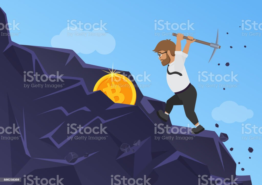 Bitcoin mining concept. Business man digging coin from the rock. vector art illustration