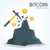 Bitcoin mining concept. Earning cryptocurrency.