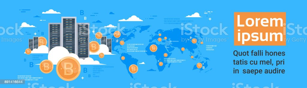 Bitcoin Mining Farm Concept Over World Map Background Horizontal