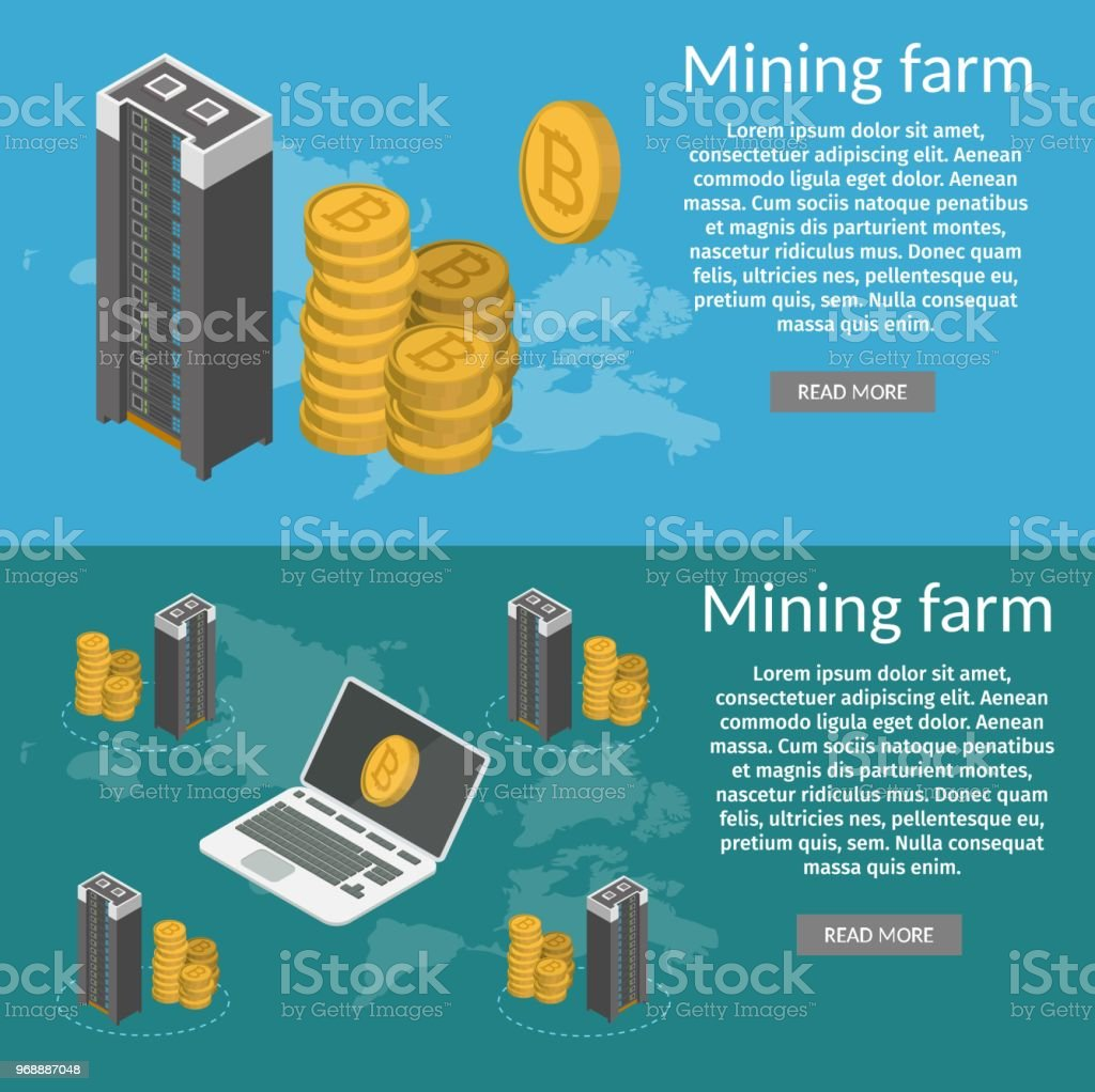 Bitcoin Mining Farm Isometric Concept 3d Banners Stock ...