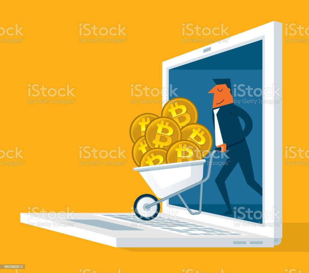 Bitcoin mining - Laptop - Businessman vector art illustration