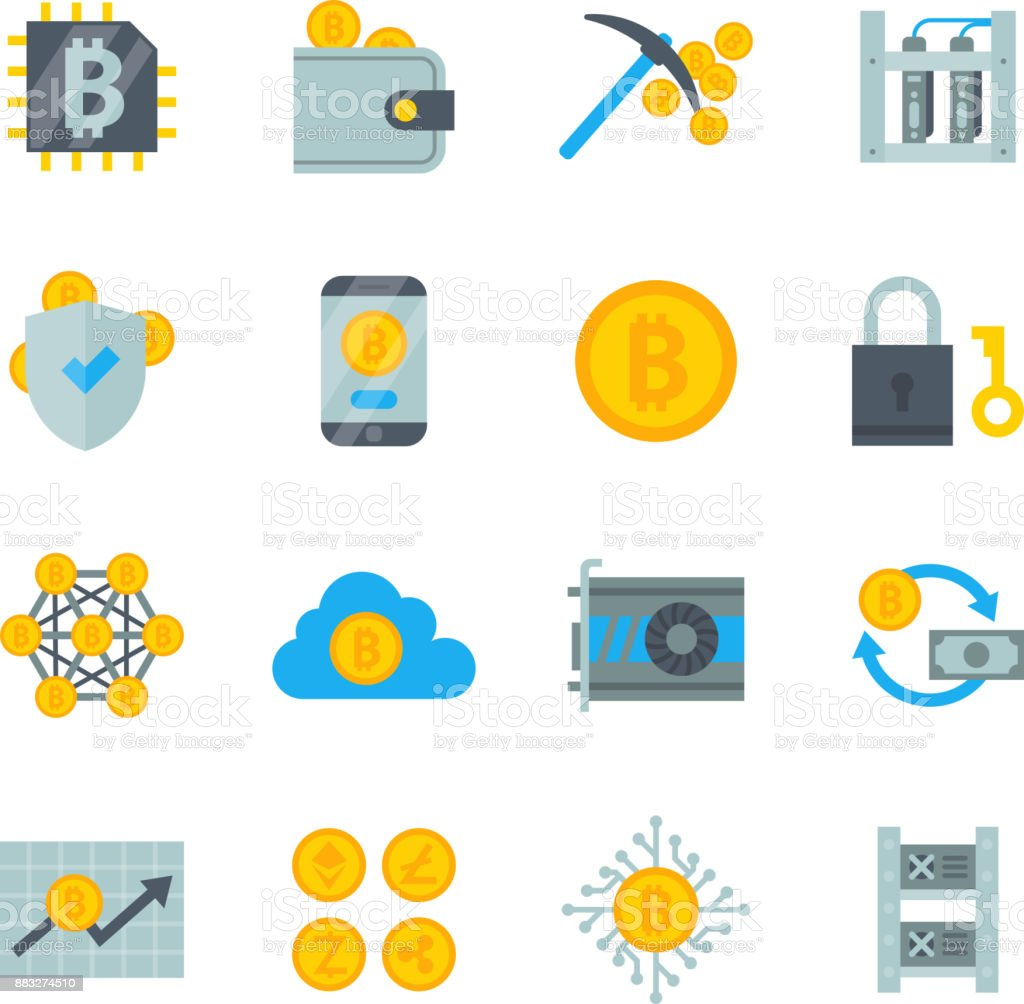 Bitcoin mining money icons vector finance internet business bit virtual crypto currence blockchain cryptocurrency coins traiding investment illustration exchange concept vector art illustration