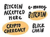 Bitcoin, money, crypto, block chain. Vector hand drawn sticker illustration with cartoon lettering.