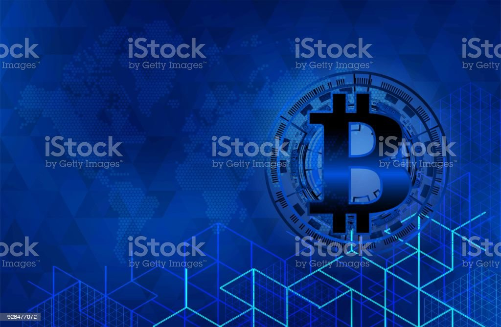 Bitcoin On World Map With Dotted Style And Glowing Points