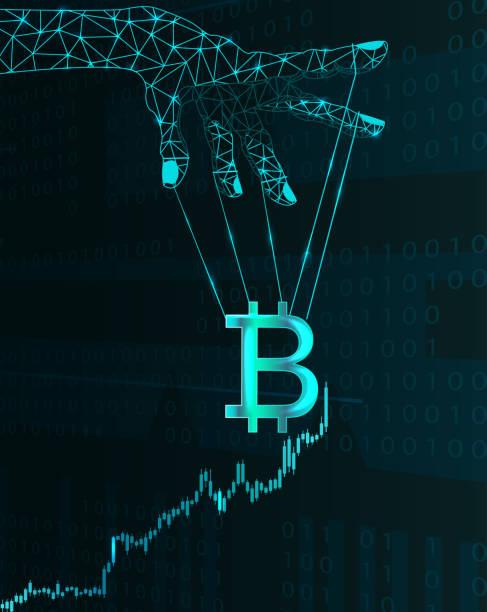 bitcoin price manipulation. - marionetka stock illustrations