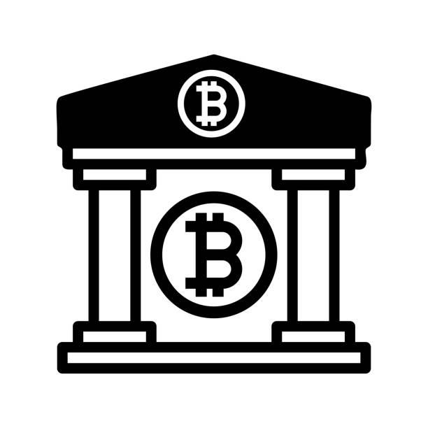 ilustrações, clipart, desenhos animados e ícones de ícone da propriedade do bitcoin / cor preta - composição