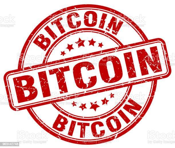 Bitcoin Czerwony Grunge Okrągły Vintage Gumowy Znaczek - Stockowe grafiki wektorowe i więcej obrazów Atrament