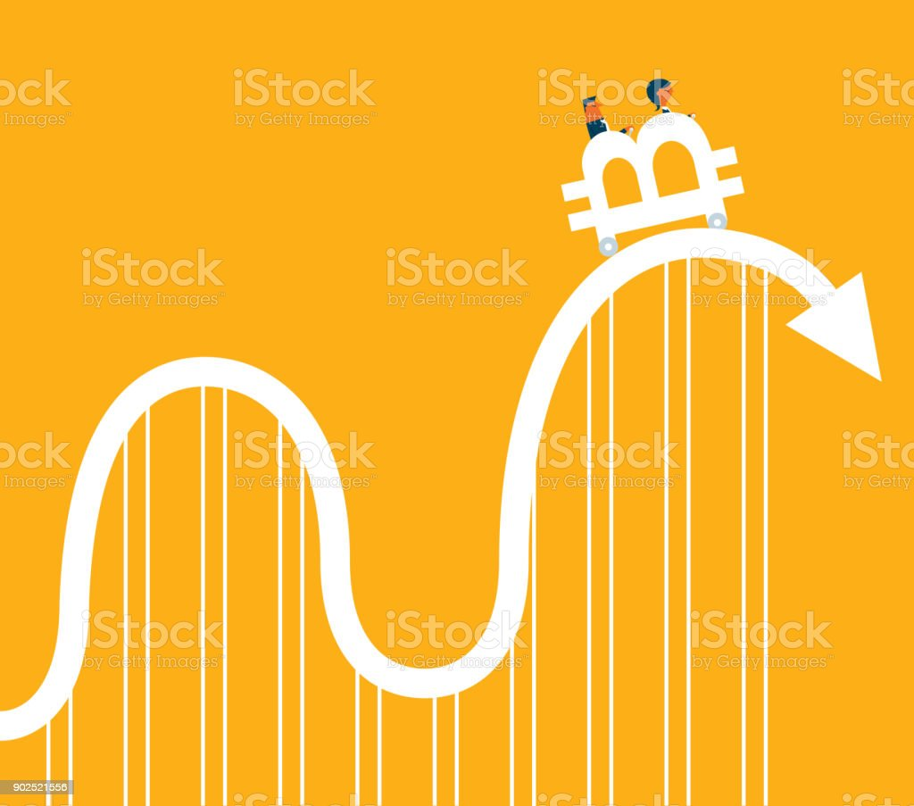 Bitcoin - Roller Coaster vector art illustration