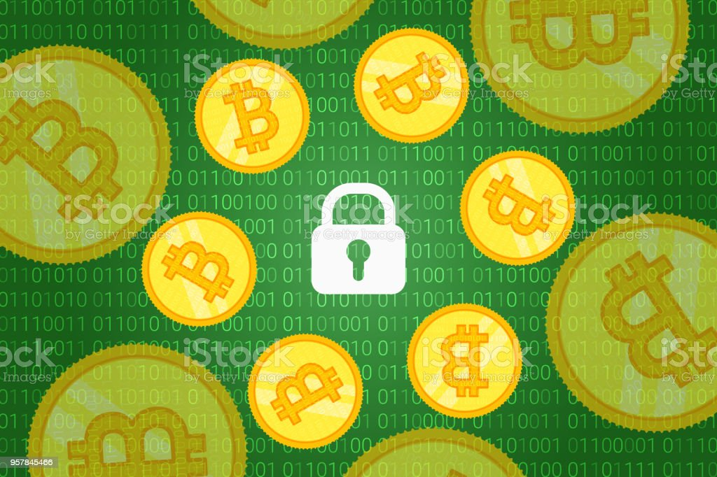 bitcoin security background. crypto coins around lock on blue background with binary code pattern. vector vector art illustration