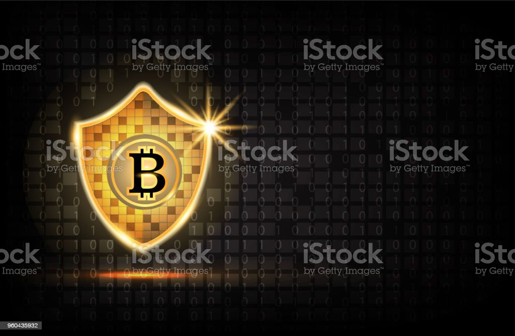 Bitcoin security concept: Golden Shield With Bitcoin icon background. - Royalty-free Alertness stock vector
