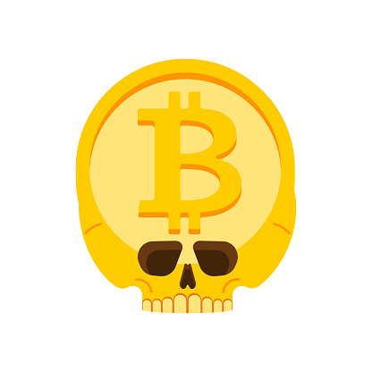Bitcoin skull isolated. Cryptocurrency fever Symbol. vector illustration