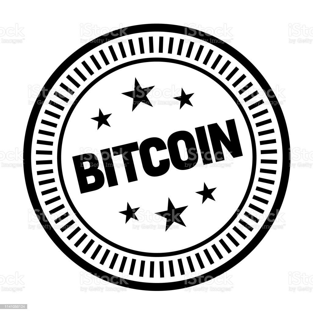 Icona timbro Bitcoin in gomma rossa su sfondo trasparente - File vettoriale stock