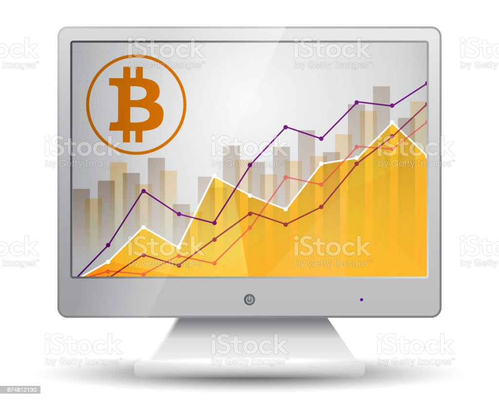 Bitcoin Statistics Chart Showing Different Growing Graphs On