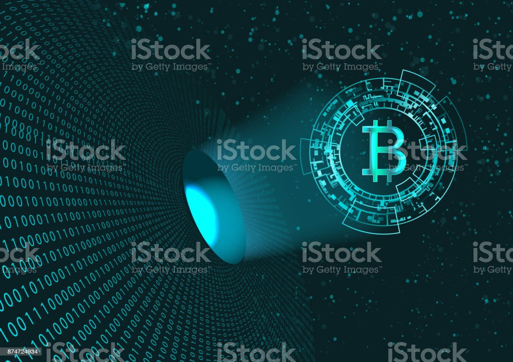 Bitcoin symbol and binary code. vector art illustration