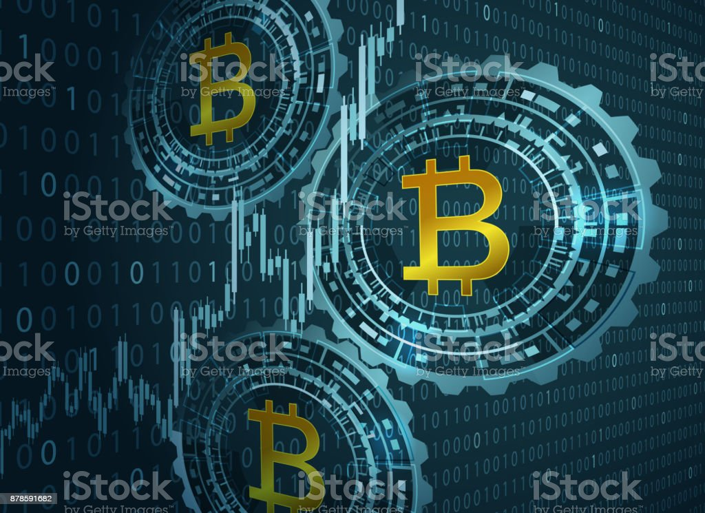Bitcoin symbol and digital background. vector art illustration
