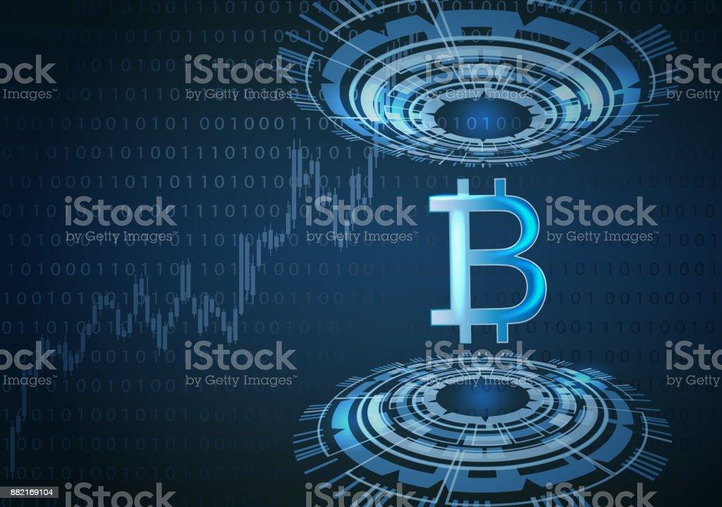 Bitcoin symbol and futuristic background. vector art illustration