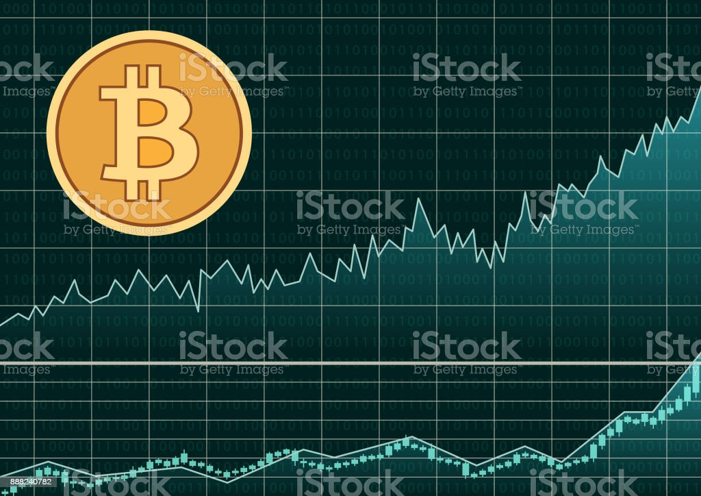 Bitcoin symbol and graph vector art illustration