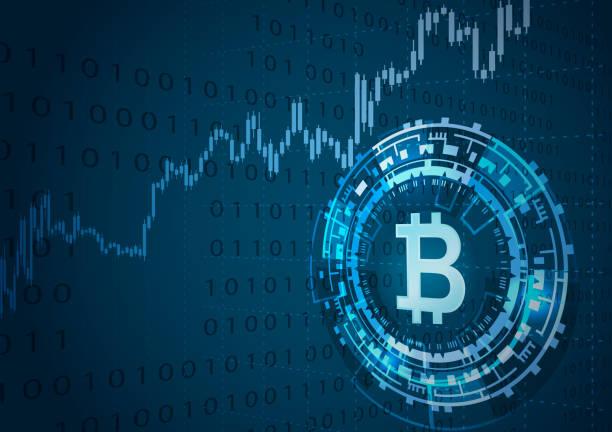 stockillustraties, clipart, cartoons en iconen met bitcoin symbool en de prijs grafiek. - bitcoin