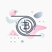 Abstract illustration concept of bitcoin technology, virtual crypto currency services. Premium quality unique graphic design with modern line icon symbol and colored geometric shapes on background.