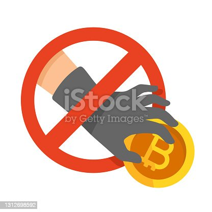 istock Bitcoin thief steal vector sign 1312698592