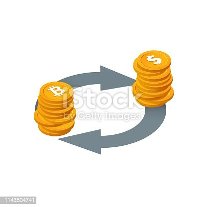 Bitcoin to dollar currency exchange, money conversion vector icon Isolated Isometric stack of coins with arrows on white background Financial transactions