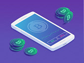 Smartphone with cryptocurrency trading app on the screen showing buying and selling Bitcoin isometric vector illustration