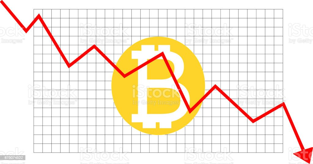 Bitcoin Values on an Downward Trend vector art illustration