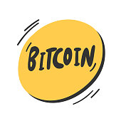 Bitcoin. Vector hand drawn sticker illustration with cartoon lettering.