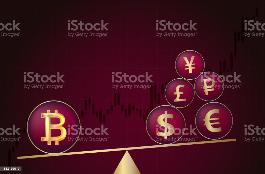 Bitcoin vs. traditional currency. vector art illustration